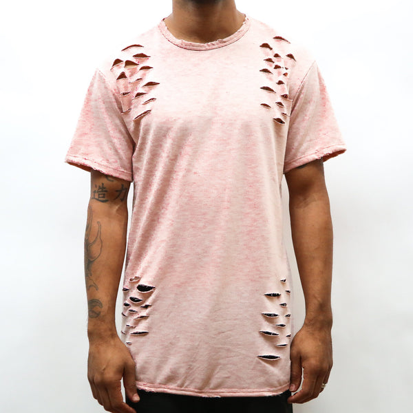 DISTRESSED SCALLOP TEE- PEACH.