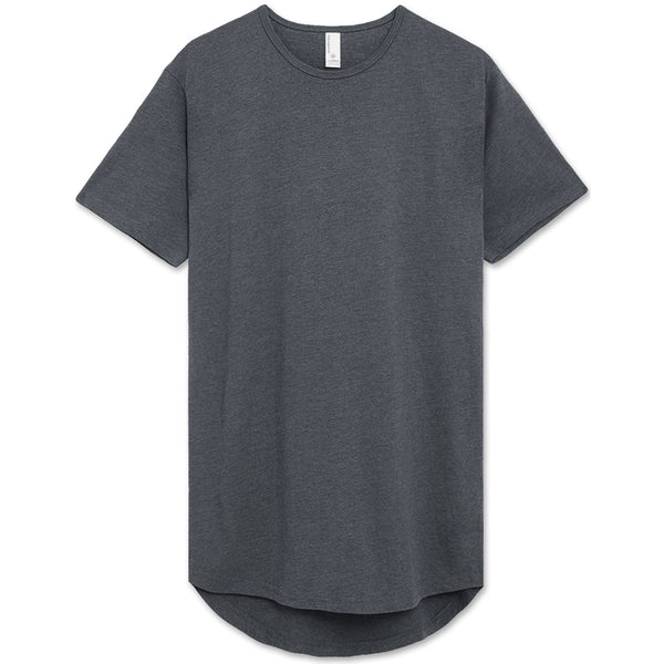 Drop Cut Longline T-Shirt (Denim Heather)