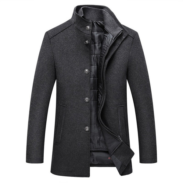 Winter Men Wool Jacket Slim Fit Thick Warm Coat