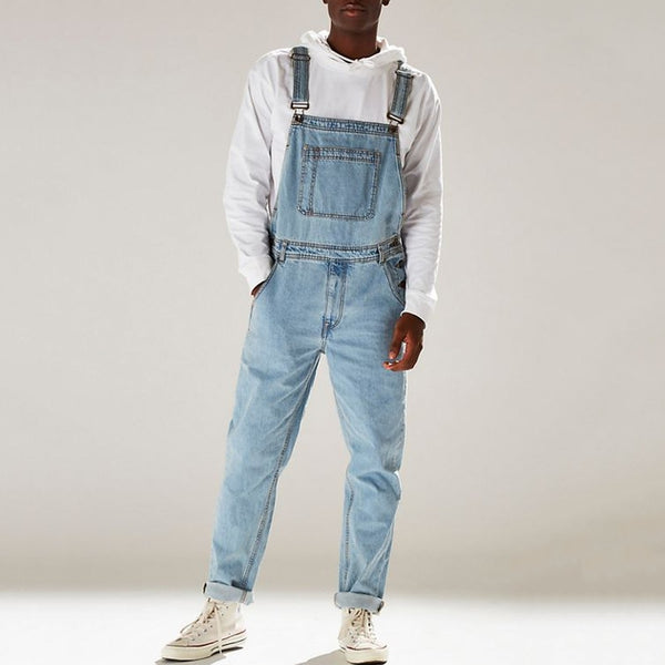 Men's Denim Jumpsuits Hip Hop Straight Jean