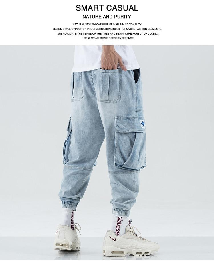 Men Multi-pocket Harem Hip Hop Pop Pants Trousers Streetwear Jeans