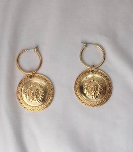 Lion Gold Hoop Earrings
