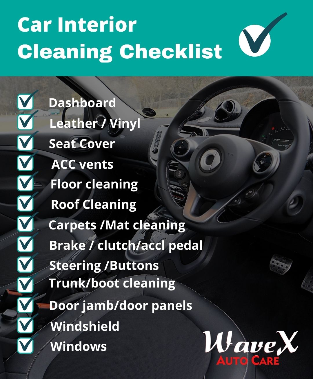Car interior cleaning checklist