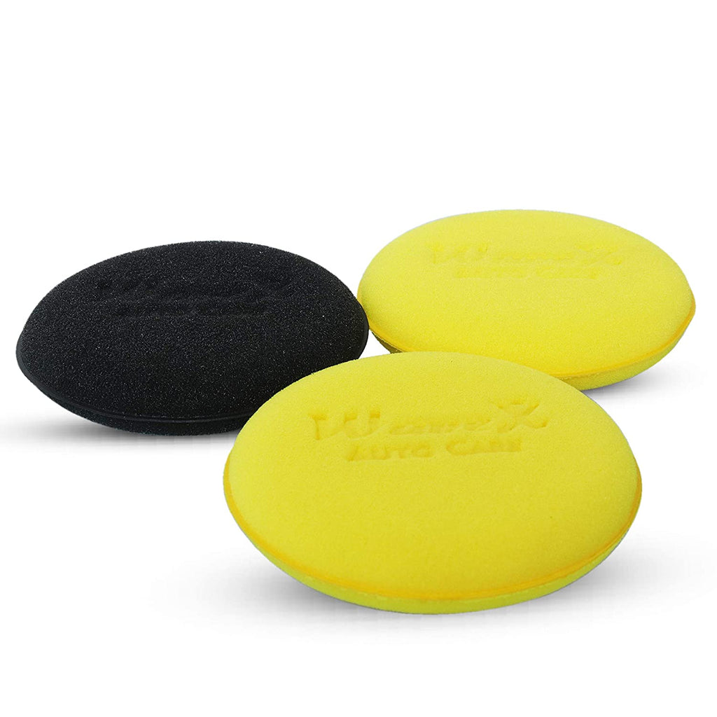 Wavex Ultrafine Foam Sponge Applicator for Car Wax, Dashboard Dressing, Tyre Dressing and Many More (Pack of 2 Yellow 1 Black)