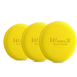 Wavex Ultrafine Foam Sponge Applicator for Car Wax, Dashboard Dressing and Many More (Pack of 3 Yellow)