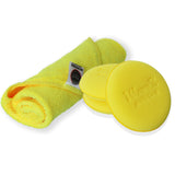 Wavex Ultrafine Foam Applicator + Microfiber Cloth 350GSM 40X40CM (Pack of 1 Microfiber, 3 Foam Applicators Yellow)