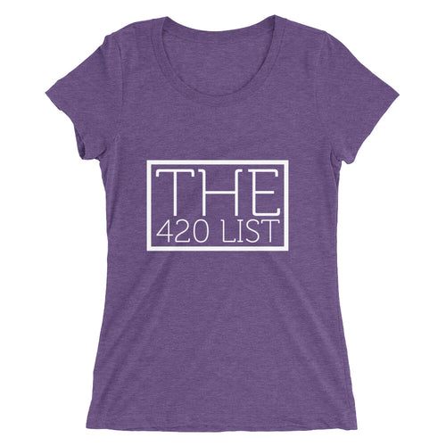 The 420 List Ladies' short sleeve t-shirt/ White Logo