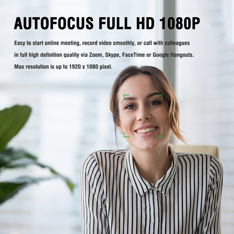 AUSDOM AF640 1080P Webcam Auto Focus with Noise Cancelling Microphone