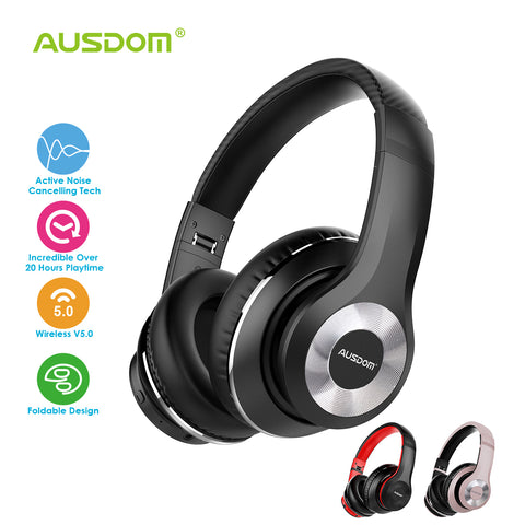 AUSDOM ANC10 Wireless Active Noise Cancelling Headphones, Bluetooth 5.0 Over-Ear Headphones with Mic, Soft Foldable Earpads, Hi-Fi Deep Bass Headset