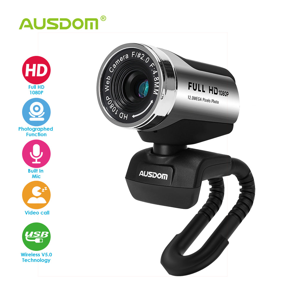 AUSDOM AW615 Webcam with Microphone USB for Online Video Calling Skype YouTube Live Streaming Recording on Desktop Laptop PC Compatible with Mac Andro