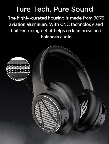 AUSDOM BASS ONE Wireless Headphones Active Noise Cancelling Headphones with Super Deep Bass Bluetooth 5.0 Headphones Headset