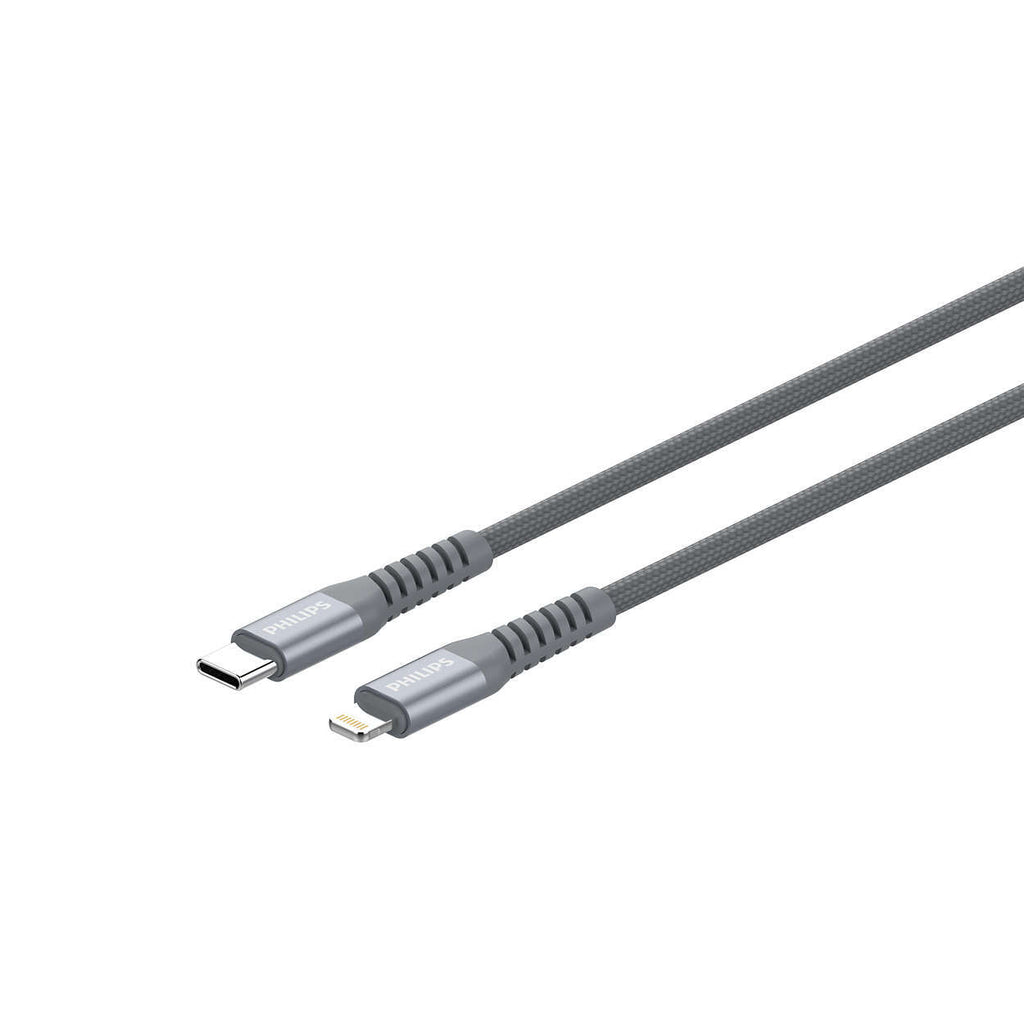 Philips MFI Lightning to Type-C, Braided cable, 1.0m Grey