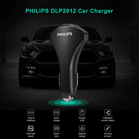 Philips Ultra Fast Car Charger Type C QC 3.0 with  2 USB 33W Black