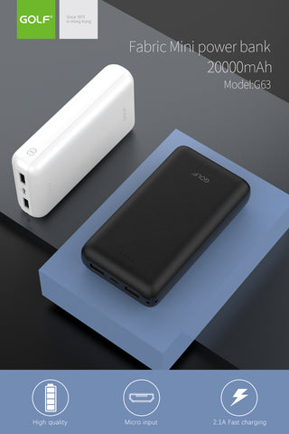 Golf G63 High Capacity 20000mAh Power Bank