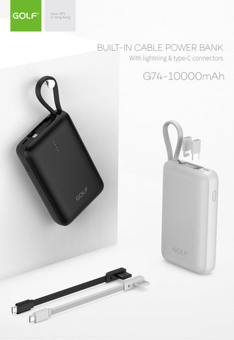 Golf G74 10000mAh Built-In Cable Dual Output Power Bank