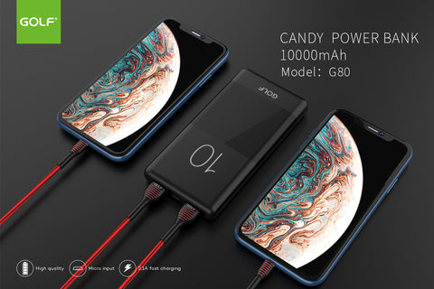 Golf G80 10000mAh Candy Dual USB Slim 2.1A Charge Power Bank For Mobile Phone