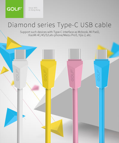 Type-C USB Cable Golf GC-27T Diamond Series type c for mobile phone