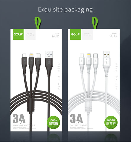 Golf GC-65 100cm Type-C/Micro USB/Lightning 3 in 1 3A USB Charging Cable White