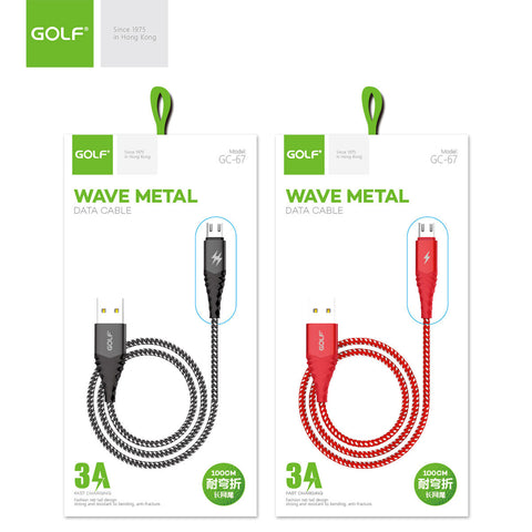 Golf GC-67M USB 1m Wave Metal Anti-Fracture USB 3A Fast Charging Data Cable For Micro USB