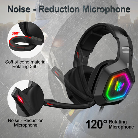 ONIKUMA K10 RGB Gaming Headset with Surround Sound  Noise Canceling Gaming Headphones with Mic & RGB LED Light Compatible PS4 XBOX ONE Nintendo Switch