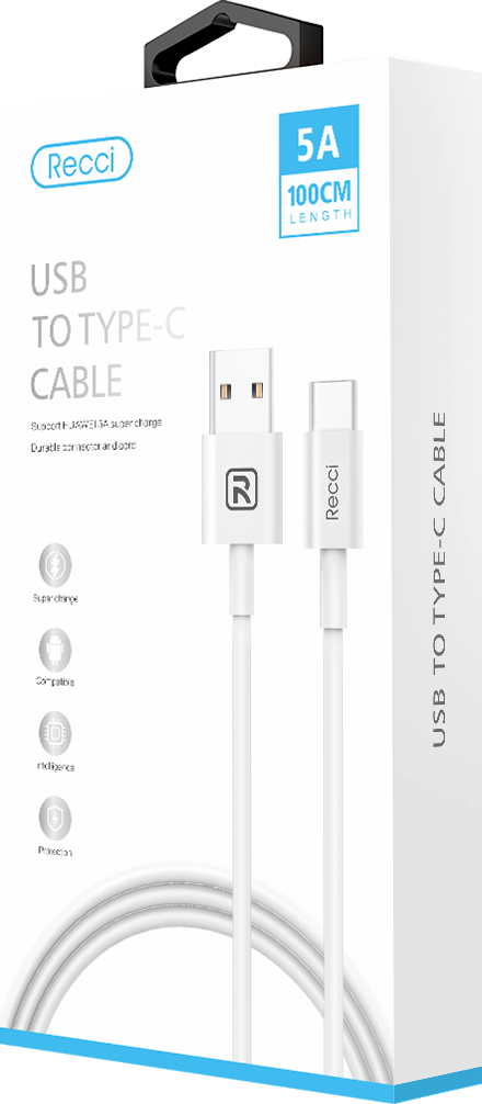 RECCI USB to Type-C Super Charge Cable White