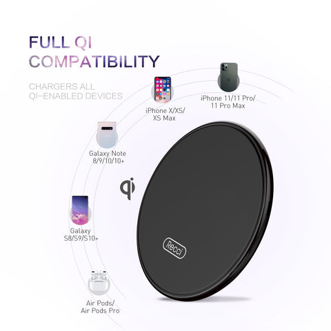 Recci 10W Fast charging Qi Compatible Wireless Charger Tempered Glass Surface AU STOCK