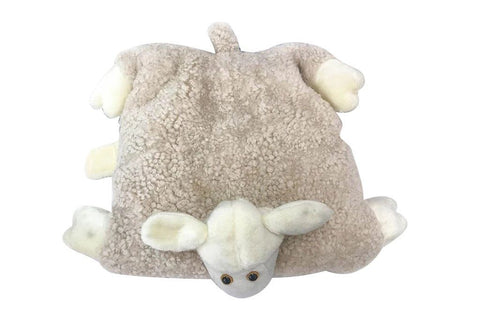 UGG Curly Pillow Cozy Sheep Shaped Cushion, Sanitized Wool Toy, Folded to Display