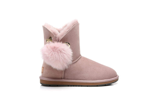 Australian Shepherd UGG Boots Ladies Short Pom Pom Blakely