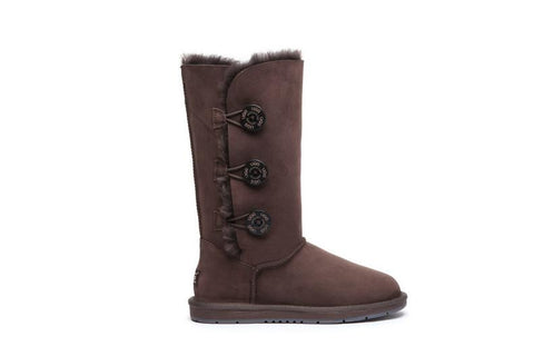 UGG Boots Australia Premium Double Face Sheepskin Tall Triple button Water Resistant #15902