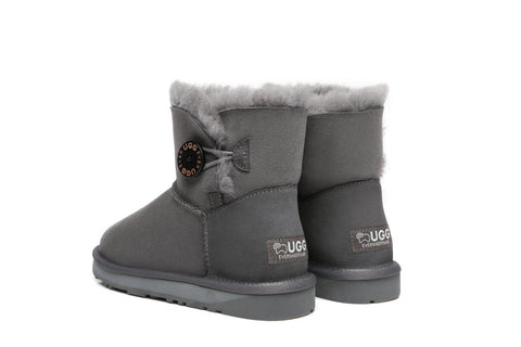 EVER UGG Mini Button Australia Premium Twin-face Sheepskin Water Resistant Boots #11702