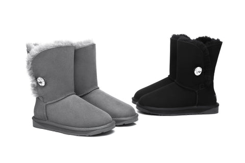 Ever UGG Short Button Boots with Crystal #11851
