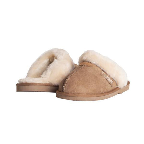 EVER UGG Unisex Scuff/Slippers, Genuine Sheepskin Lining, Suede Upper