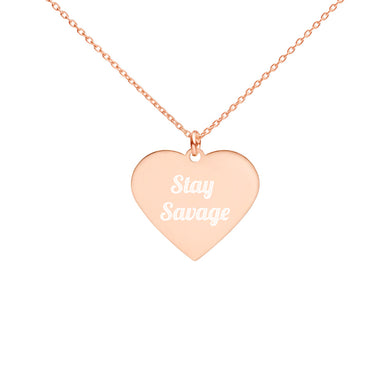Stay Savage Engraved Silver Heart Necklace (3 Colors)