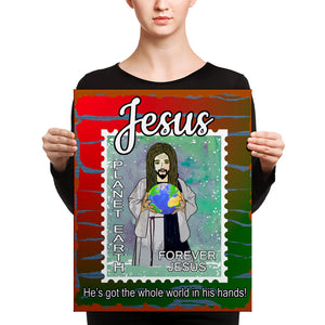 """Jesus"" He's got the whole world in his hands. 16 x 20 Canvas Print"