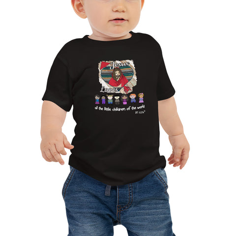 Jesus loves all the little children of the world. Baby T-Shirt. Available in 2 dark colors.