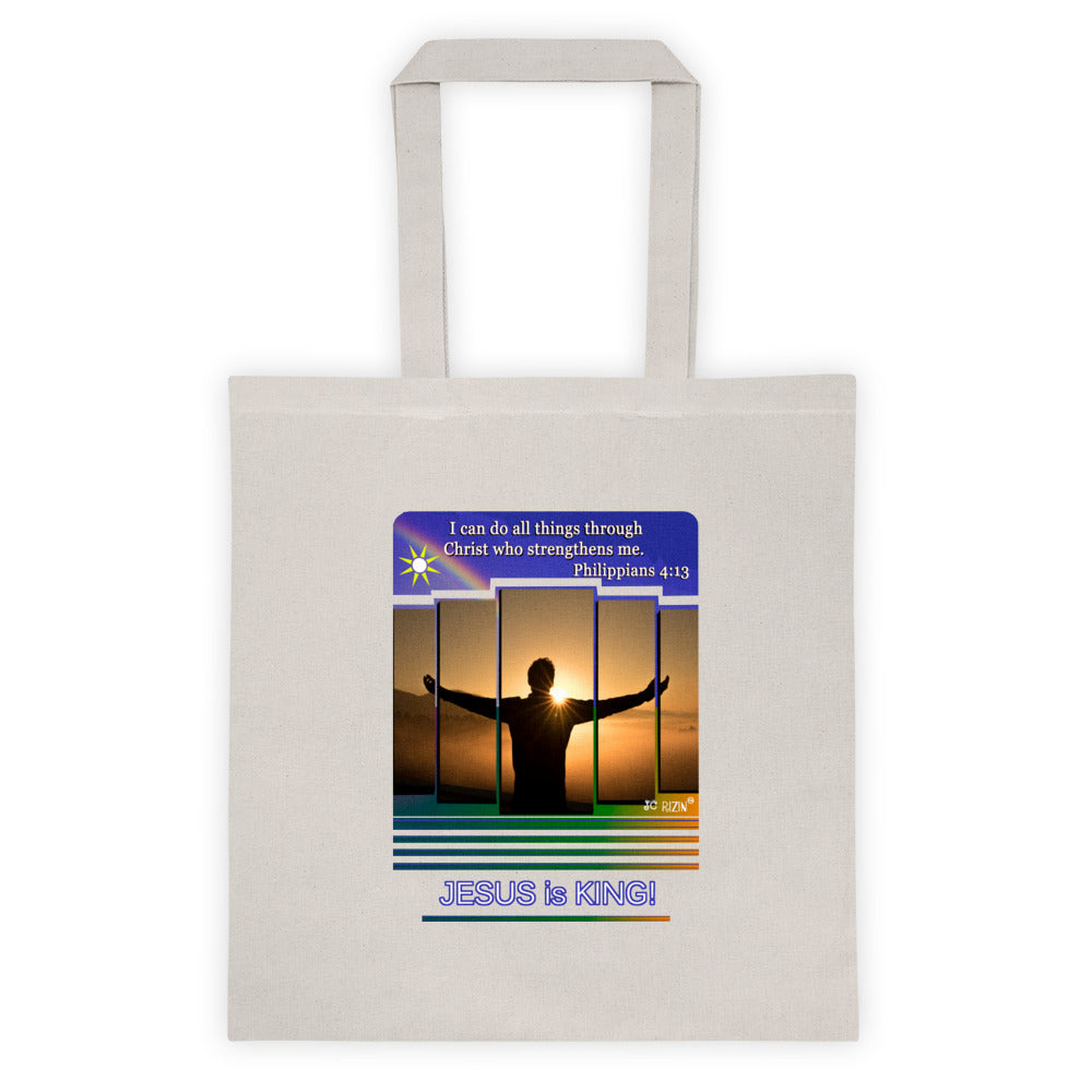 I can do all things through Christ... Philippians 4:13. Tote bag