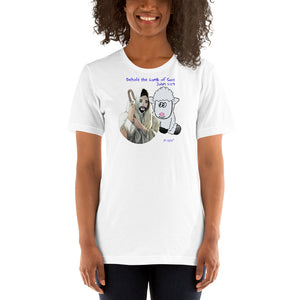 Behold the lamb of God. John 1:29. Unisex T-Shirt. Available in 6 light colors.