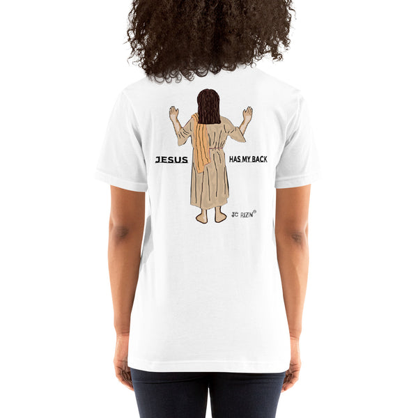 It's all good. Jesus has my back. Unisex T-Shirt. Comes in 5 light colors.