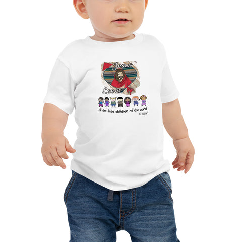 Jesus loves all the little children of the world. Baby T-Shirt. Available in 2 light colors.