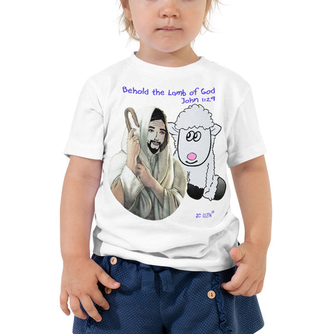 Behold the lamb of God.  John 1:29  Toddler Short Sleeve Tee