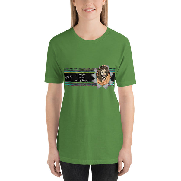LOOK!  I've got Jesus in my heart.  Women's Short-Sleeve T-Shirt