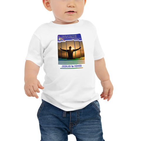 I can do all things through Christ. Philippians 4:13.Baby T-Shirt. Available in 4 colors.