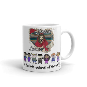 """Jesus loves all the little children of the world."" 11 oz. Ceramic Mug."