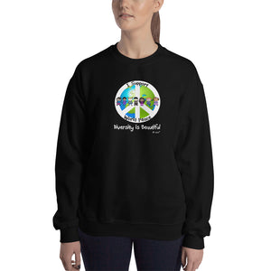I support world peace. Unisex Sweatshirt. Available in 5 dark colors.