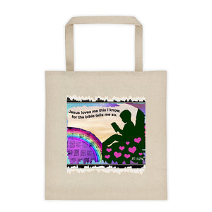 Jesus loves me this I know. Tote bag by JC Rizin