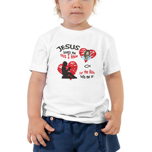 Jesus loves me this I know. Toddler T-Shirt. Available in 2 light colors.