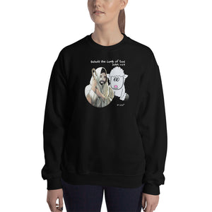 Behold the lamb of God. John 1:29. Unisex Sweatshirt. Available in 6 dark colors.