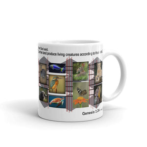 "And God said, ""Let the land produce creatures according to their kinds. Genesis 1:24.  11 oz. Mug"