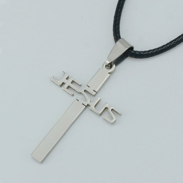 Stainless Steel Jesus Cross Pendant with Rope Chain for All Ages.