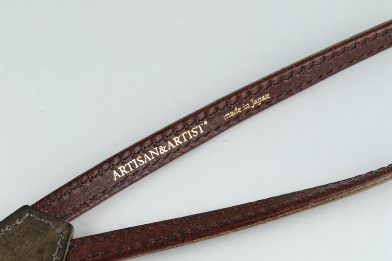 *New* ARTISAN & ARTIST Leather Strap ACAM-290 GRY (0499) With Box #20417F2